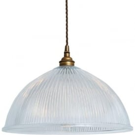 NOVA ribbed glass ceiling pendant light - antique brass fitting