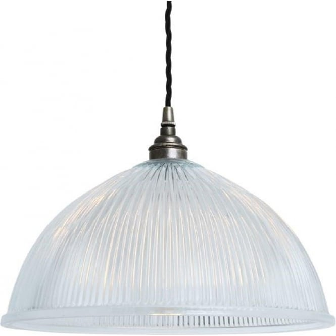 Ribbed Prismatic Glass Dome Ceiling Pendant On Antique
