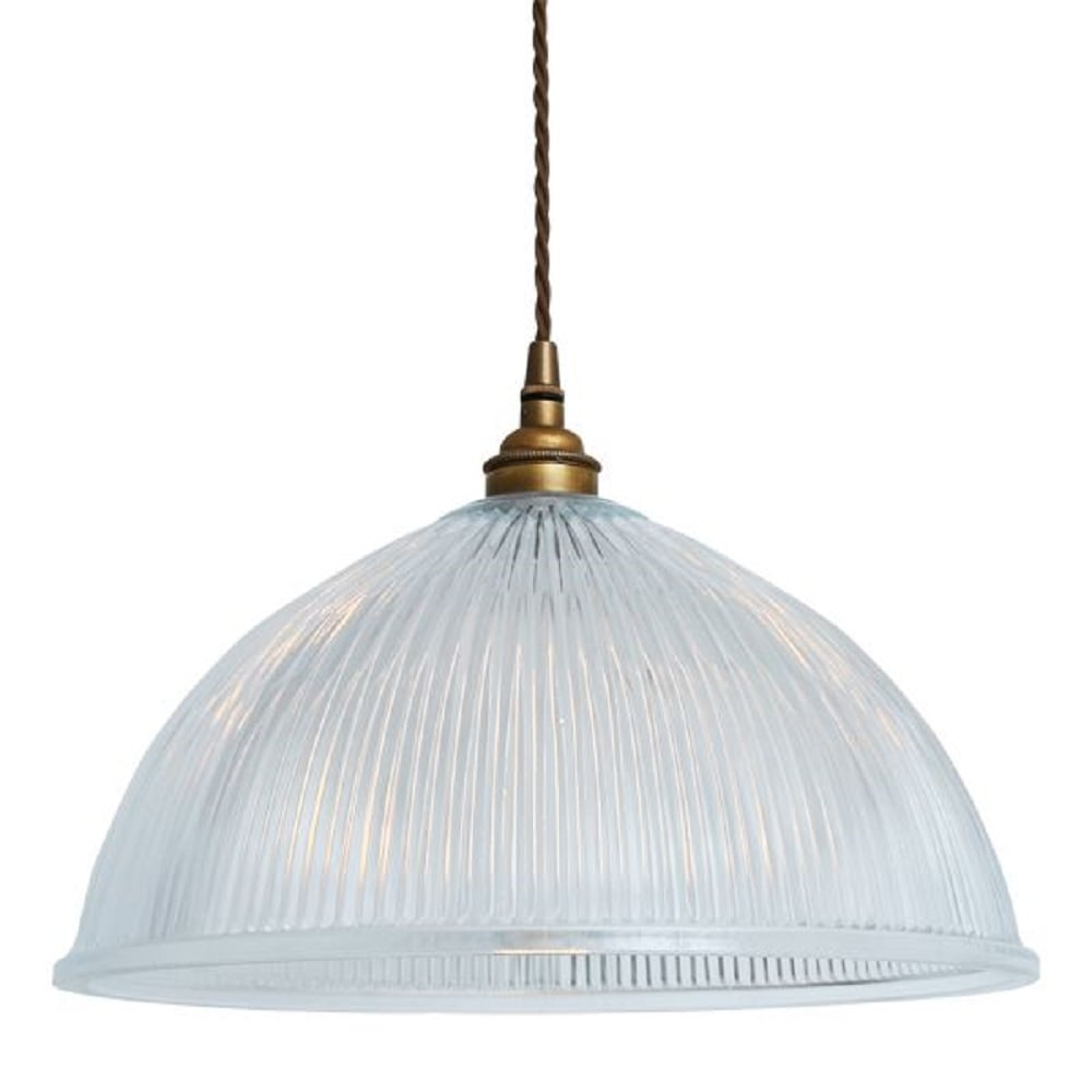 dome shaped ribbed glass ceiling pendant retro style