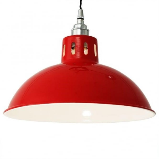 Monaghan Lighting OSSON factory style metal ceiling pendant light - red