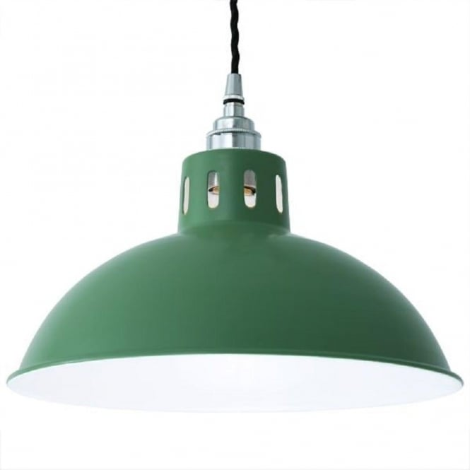 Monaghan Lighting OSSON factory style metal ceiling pendant light - sage green