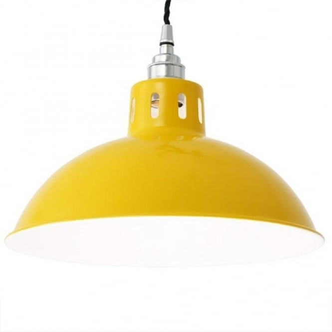 Retro Yellow Painted Metal Ceiling Pendant Hanging On