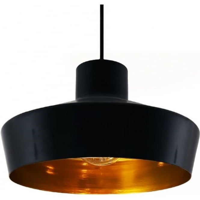 black metal ceiling pendant light fitting with metallic gold inside