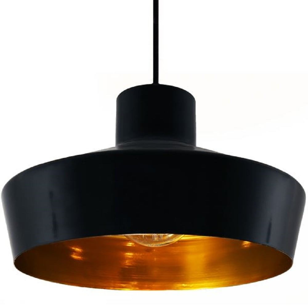 Smartwares Industrial Es Pendant Light Black Bronze: Black Metal Ceiling Pendant Light Fitting With Metallic