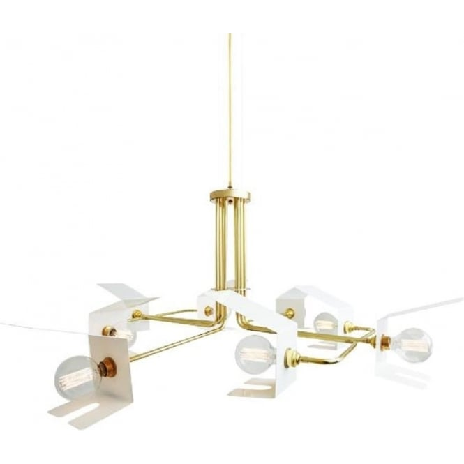 Modern tubular frame ceiling light 8 bare bulbs in open white shades petra contemporary 8 light tubular frame ceiling light gold polished brass aloadofball Images