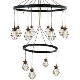 PRAIA 2 tier industrial hoop chandelier with 12 antique brass cage shades