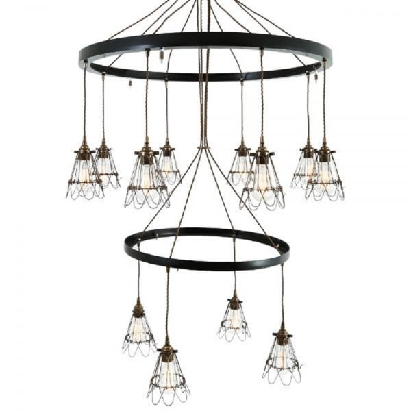 Classic Vintage French 55 Square Two Tier Brass Glass: Large 2 Tier Industrial Hoop Chandelier With 12 Antique