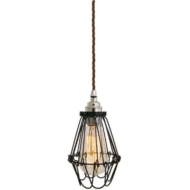 Monaghan Lighting PRAIA black industrial pendant light hanging on brown braided cable