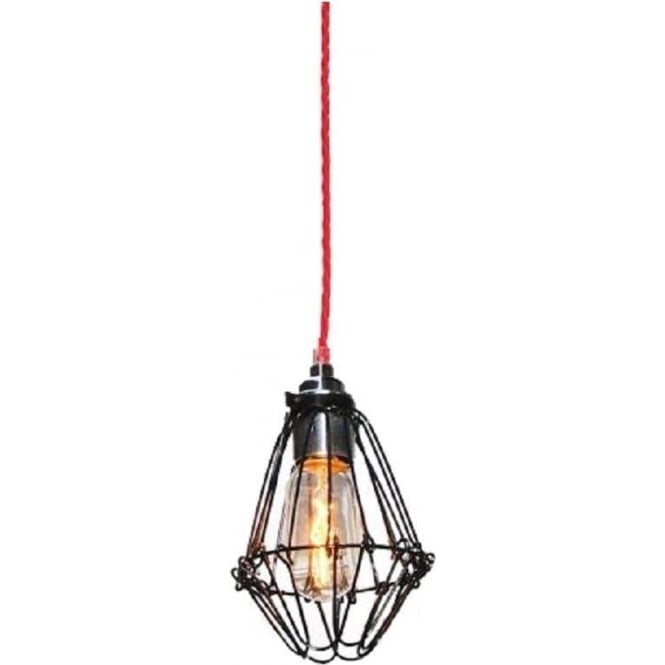 Monaghan Lighting PRAIA black industrial pendant light on red braided cable