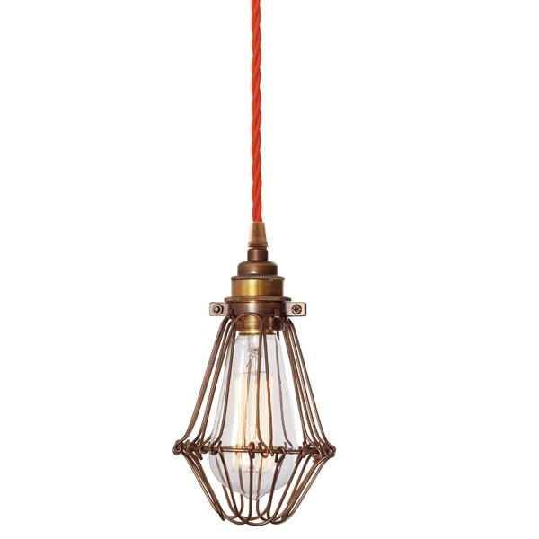 Warehouse Wire Cage Ceiling Pendant Light In Bronze With