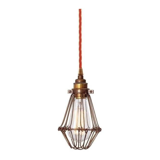 industrial cage lighting. contemporary lighting praia bronze industrial cage pendant light hanging on orange braided cable and industrial cage lighting w