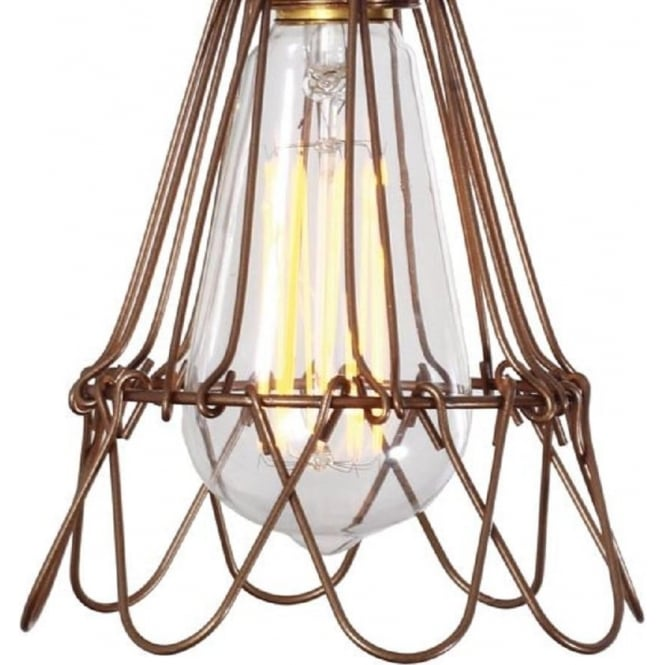 praia bronze industrial cage pendant light hanging on orange braided cable oil rubbed bronze loft