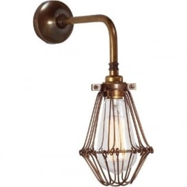 PRAIA industrial design single arm cage wall light - antique brass