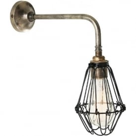 PRAIA industrial design single arm cage wall light - antique silver