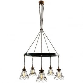 PRAIA industrial hoop chandelier with 5 antique brass cage shades