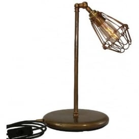 PRAIA industrial retro style adjustable table lamp or desk light - antique brass
