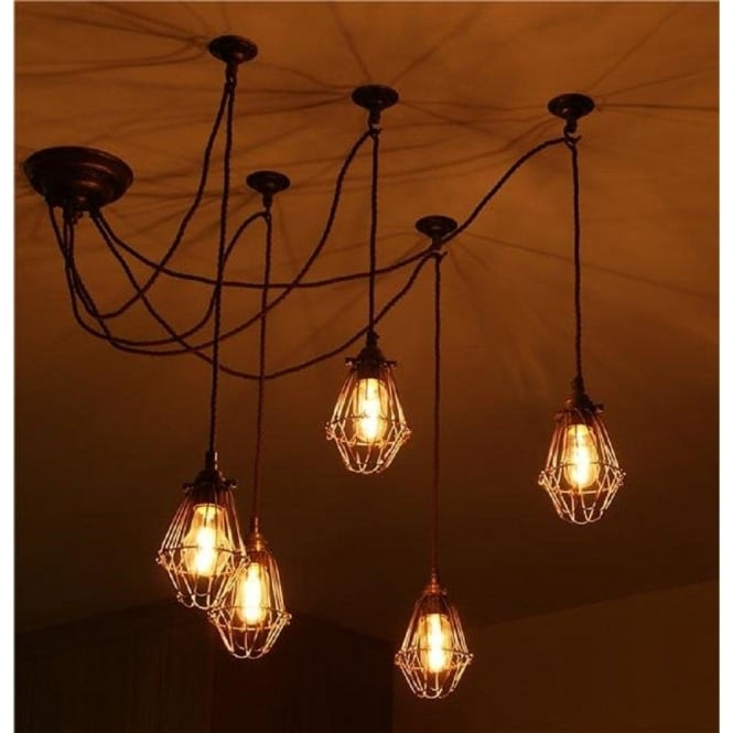 Praia industrial vintage 5 light cluster ceiling pendant with bronze cage shades