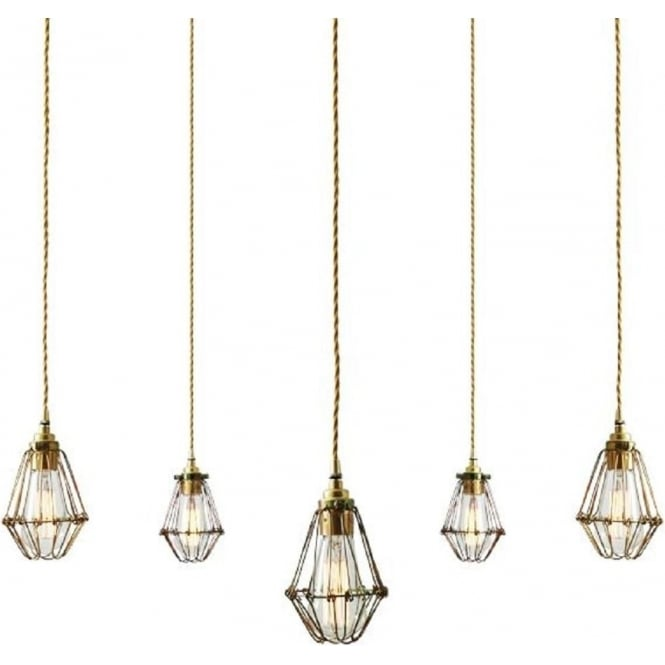 Monaghan Lighting PRAIA industrial vintage 5 light cluster ceiling pendant with gold zinc cage shades