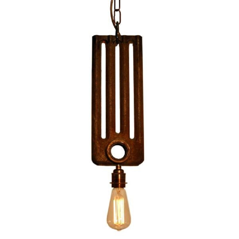 Pendant Light Bulb Type : Radiator bare bulb hanging ceiling pendant light in rusty