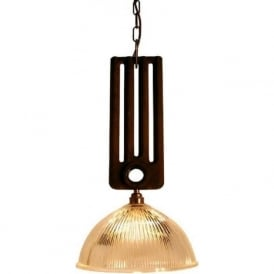 RAD rustic radiator ceiling pendant with halophane glass shade