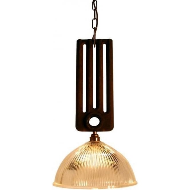 RAD rustic radiator ceiling pendant with holophane glass shade