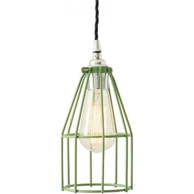 Monaghan Lighting RAZE pale green industrial cage pendant ceiling light