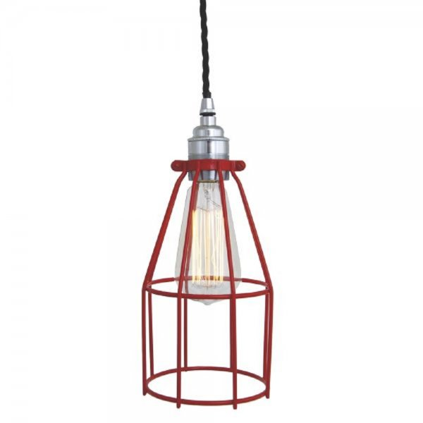 Red Industrial Chandelier: Red Industial Ceiling Pendant Light On Black Braided Cable