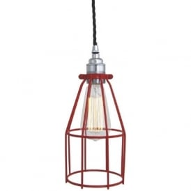 RAZE red industrial cage pendant light