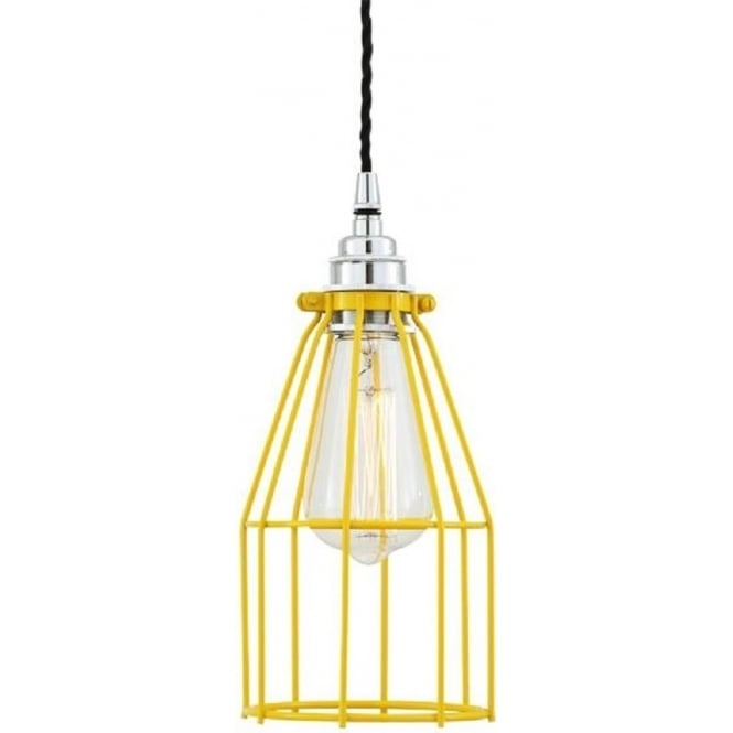 Yellow Metal Wire Cage Ceiling Pendant Light For Rustic