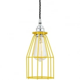 RAZE yellow industrial cage ceiling pendant light