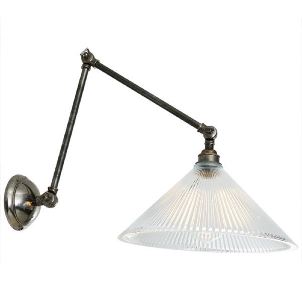 Wall Lights With Adjustable Arms : Traditional Adjustable Angled Wall Light Fitting, Coolie Glass Shade