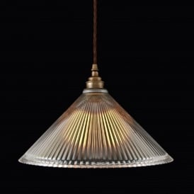 REBELL coolie glass ceiling pendant light on antique brass fitting