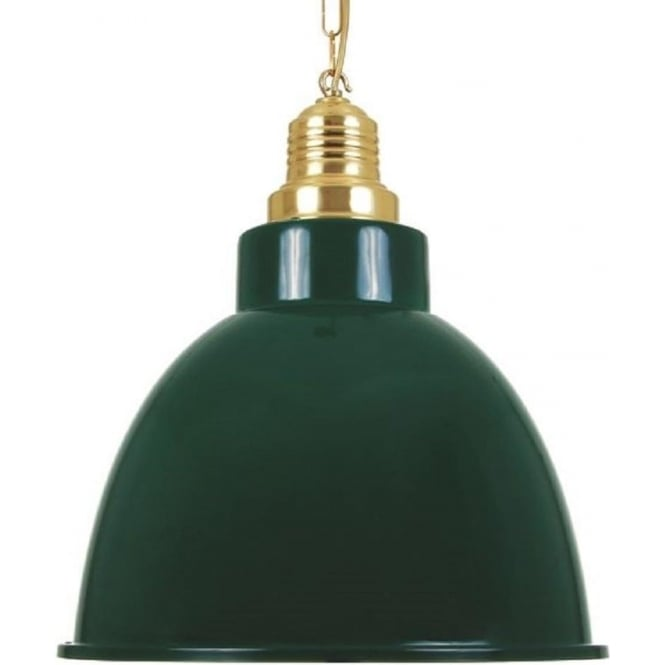 Monaghan Lighting REZADOR large industrial ceiling pendant - racing green with brass detailing