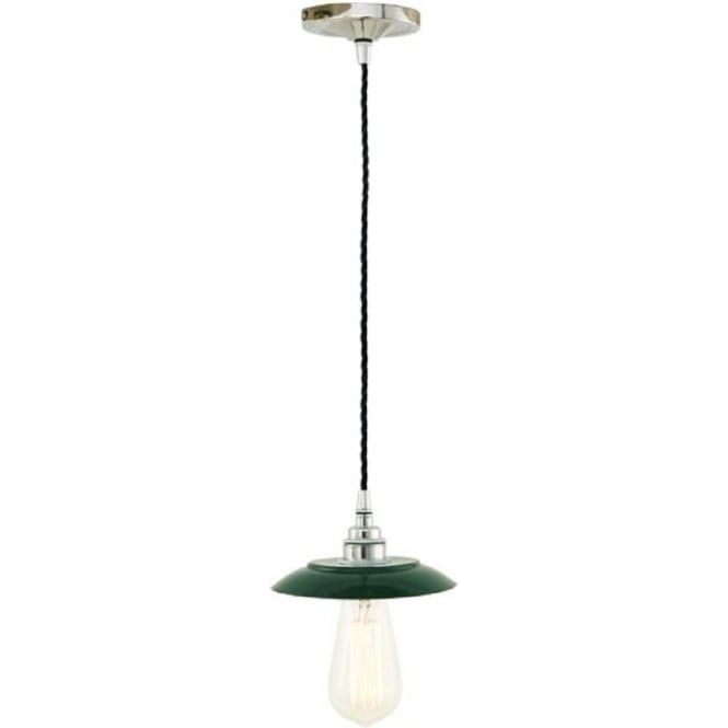 Industrial Pendant Light Green: Dark Green Metal Ceiling Pendant With Chrome Detail And