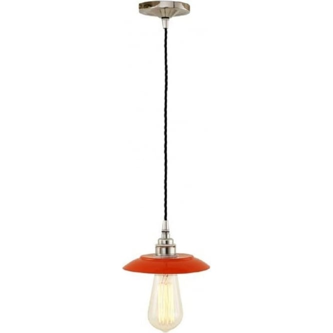 Monaghan Lighting REZNOR industrial steampunk ceiling pendant light - red/chrome