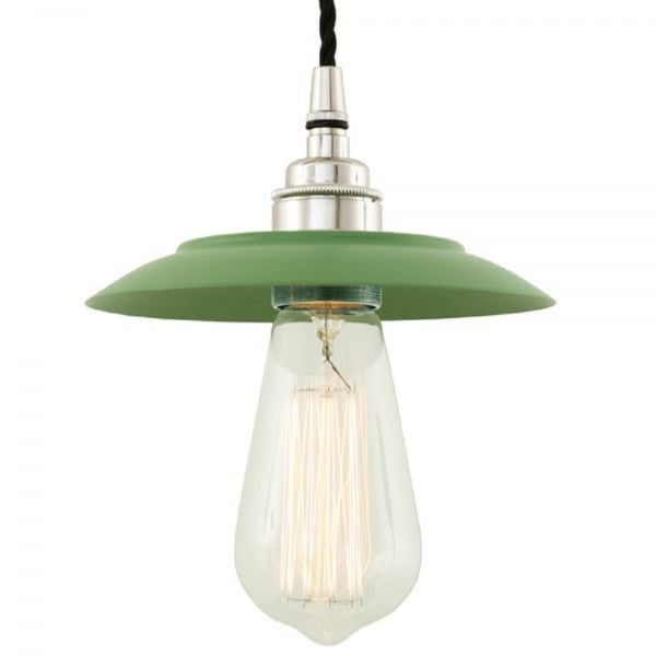 Sage Green Factory Style Ceiling Pendant Light with Chrome Detailing