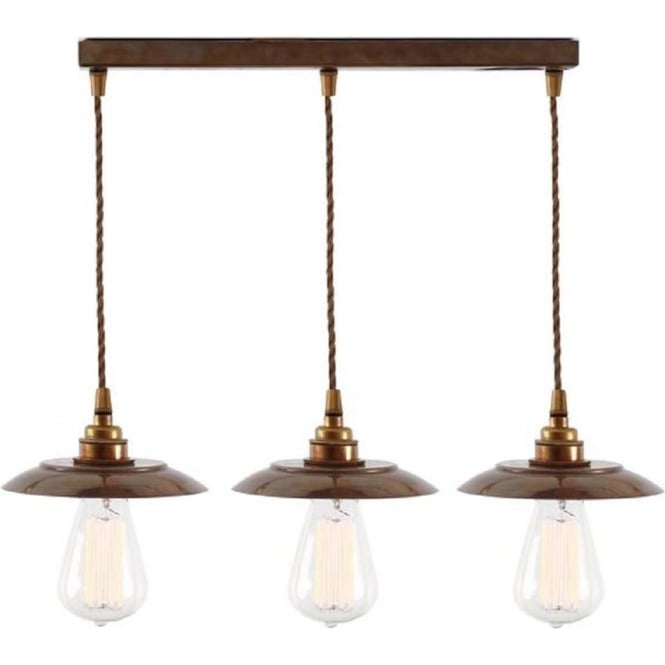 Bare Bulb Bar Pendant Ceiling Light 3 Lights Hanging On