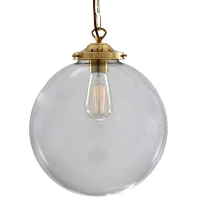 Clear Glass Globe Ceiling Pendant Light Suspended On Brass