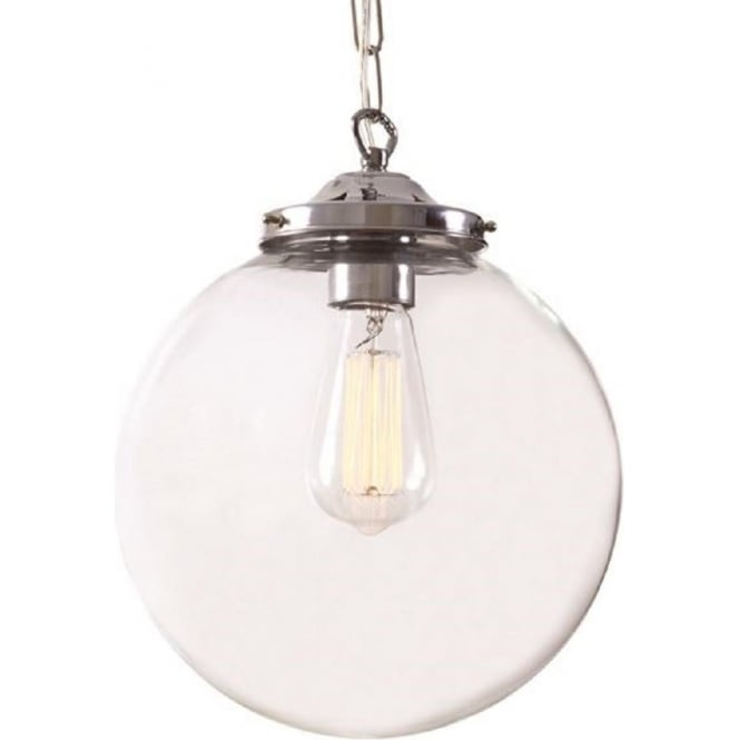 Classic Glass Globe Ceiling Pendant Light Hanging On Chrome Fitting