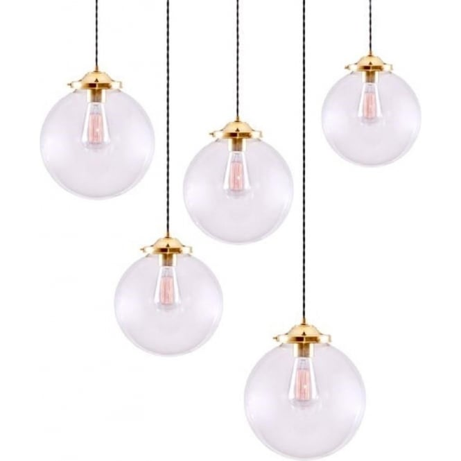 Monaghan Lighting RIAD glass globe cluster ceiling light with 5 hanging pendant lights