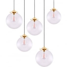 RIAD glass globe cluster ceiling light with 5 hanging pendant lights
