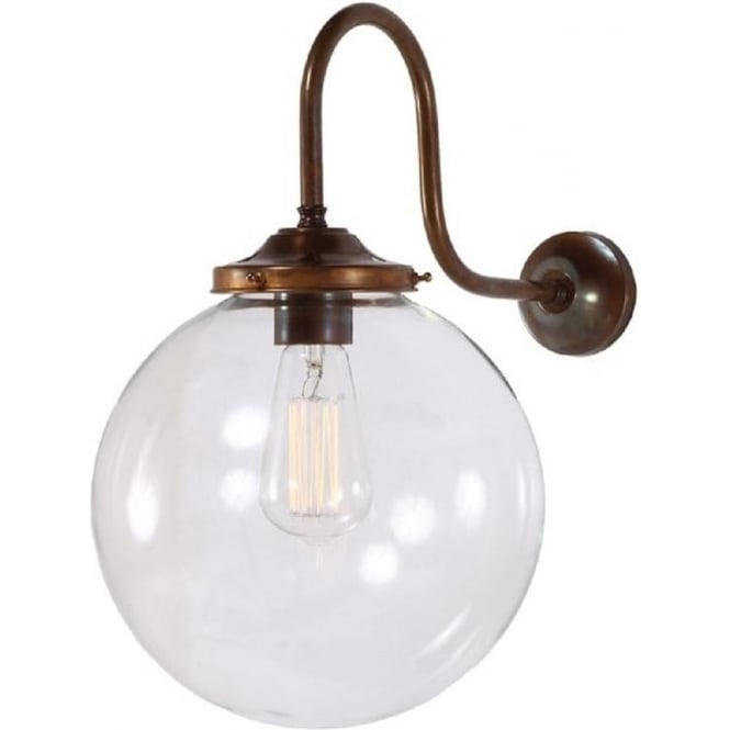 Monaghan Lighting RIAD wall light with clear glass globe shade on antique fitting