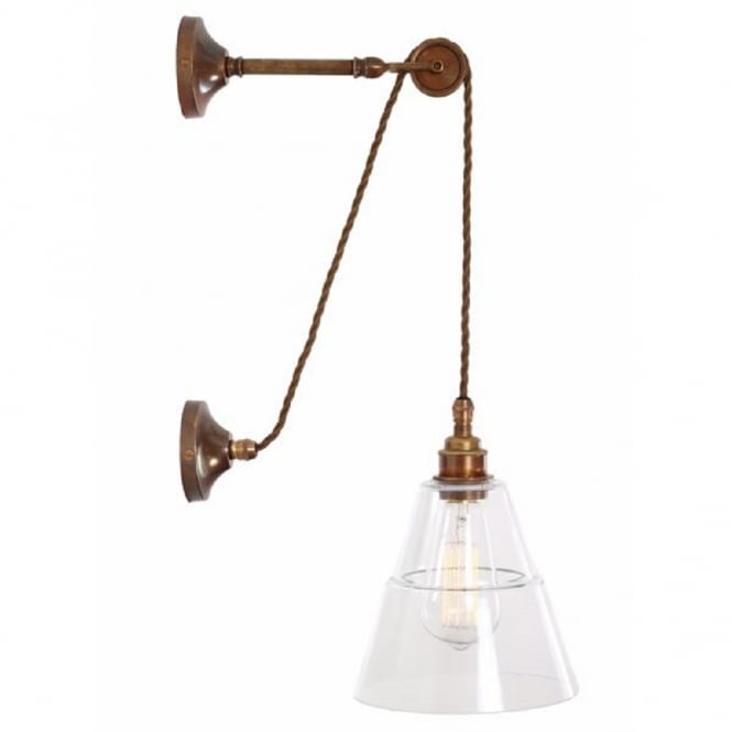 Industrial Design Hanging Wall Light On Antique Brass