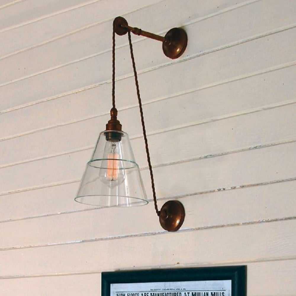 Home shop by era edwardian lighting monaghan lighting monaghan - Rigale Industrial Style Hanging Pulley Wall Light With Coolie Glass Shade Antique Brass