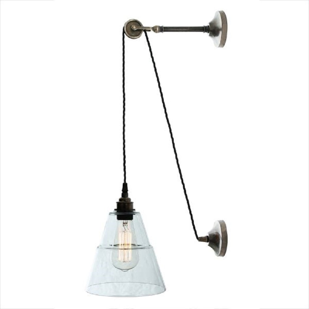 Antique Silver Hanging Pulley Wall Light With Clear Coolie