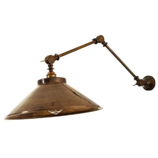 Rio Angled Wall Light In Antique Brass With Coolie Metal Shade