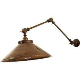 RIO industrial style adjustable angled wall light - antique brass