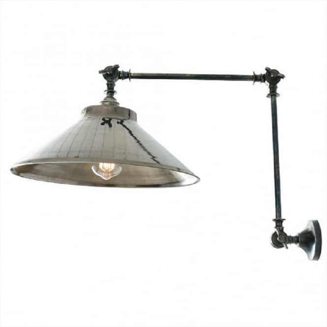 Rio industrial style adjustable angled wall light antique silver