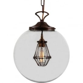 ROBYN classic glass globe ceiling pendant with inner industrial cage light