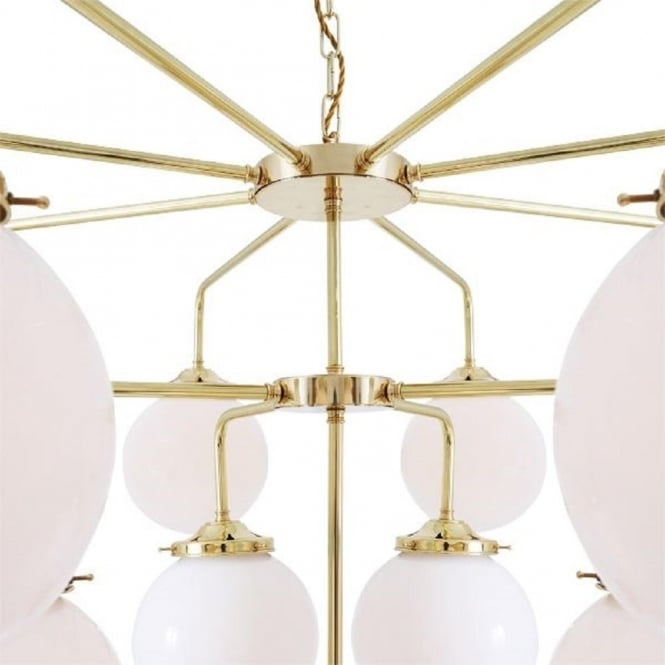 Rome Large Gold Polished Brass Chandelier With Opal Glass Globe Shades